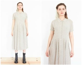 90s Beige Gingham Sundress / Peter Pan Collar Shirt Dress