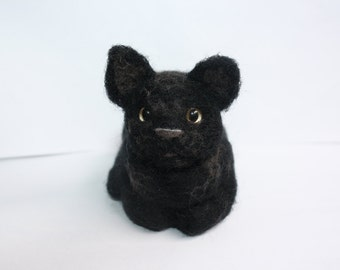 black cat needle felted sculpture