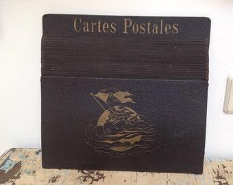 Antique French Cartes Postales (postcard) folder. Black