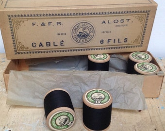 Vintage sewing thread box with 5 reels still in. Made in Belgium