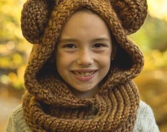 Wooly bear hooded hat.  Custom colors.
