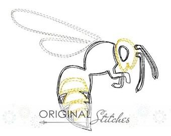 Quick Stitch Yellow Jacket Embroidery Digitized Digital Design File 4x4 5x7 6x10