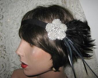 1920's headpiece flapper headband 1920's headband rhinestone headband GREAT GATSBY headpiece hair accessory bridal accessory silver BLACK