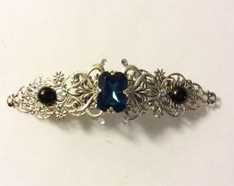 Bridal barrette Victorian barrette Sapphire blue black hair clip Art Nouveau barrette French barrette Wedding accessories Bridal accessories