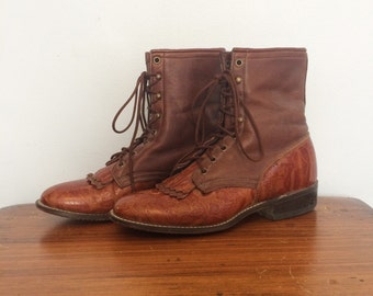Vintage Brown Leather Western Lace Up Boots 80s  / Laredo Fringed Roper Boots / Two Tone Tooled Cowgirl Boots / Size 9