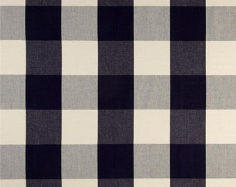 """Two 96"""" x 50""""  Custom LINED Curtain Panels  -  Large Checks - Navy"""