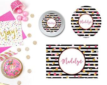 Modern Polka Dots Plate/Bowl/Placemat . Personalized Plate/Bowl/Placemat . Girls Plate/Bowl/Placemat . Polka Dots Plate/Bowl/Placemat