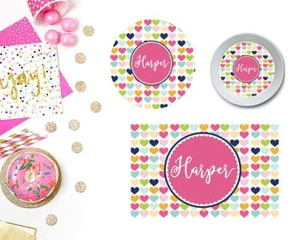 Hearts Plate/Bowl/Placemat . Personalized Plate/Bowl/Placemat . Girls Plate/Bowl/Placemat . Preppy Plate/Bowl/Placemat . Custom Plate