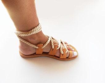 Lace up Sandals , Gladiator Leather Sandals , Boho Sandals , Rope Sandals , Beige Sandals , Leather Sandals , Greek Sandals , Summer Sandals