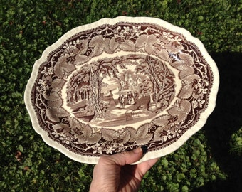 Antique Mason's Patent Ironstone Platter, Vista Brown, 14""
