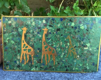 Mexico brass box GIRAFFE inlaid sodalite turquoise Taxco style cigarette box, jewelry box trinket box
