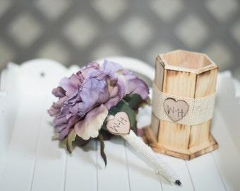 Burlap Guest book pen with vase select flower showing lavender flower peony pen
