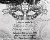 DIY Silver Masquerade Ball Invitation, Sweet 16 Party, Masquerade Invite, Black