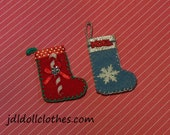 "Christmas/Holiday Stockings for 6"" to 10"" Dolls by JDL Doll Clothes"