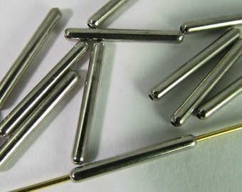 60 Vintage 15mm Rhodium-Plated Skinny Tubular Bugle Beads Mt200