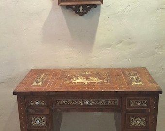 Antique Desk and Painting with mother of pearl inlay.