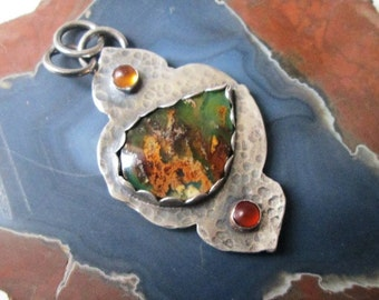 Regency Plume Agate and Turquoise Doublet Mehndi Pendant with Citrine and Baltic Amber in Sterling Silver Necklace Jewelry