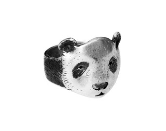 Panda ring / Patina oxidized sterling silver