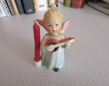 Vintage HUMMEL Angel Playing Lute Candle Holder - perfect for Christmas, Birthday, Goebel West Germany hx 263