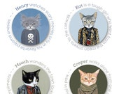 Cats In Clothes 4 Buttons - The Misfits