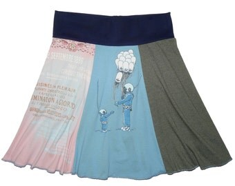 Sale 20% Off Women's Medium Large Upcycled Hippie Skirt recycled t-shirt clothing from Twinkle