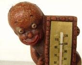 1949 Black Americana THERMOMETER Syroco figurine Diaper Dan by Multi Productions Negrobilia