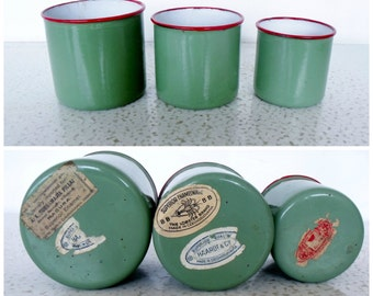 Czechoslovakia Enamelware Set of 3 Small Green / Red Rim Vintage Nesting Cups