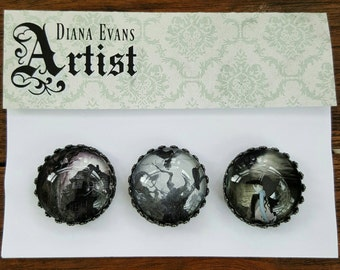 Set of Gothic Decorative Glass Magnets Monster House