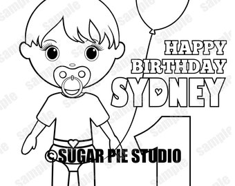 Personalized Printable Baby 1st Birthday Party Favor childrens kids coloring page activity PDF or JPEG file
