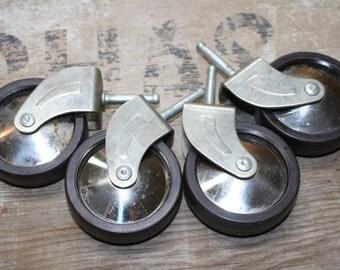 Vintage Castors - Set of Four - Salvaged - Parts