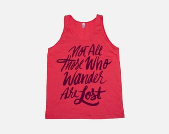 Not All Those Who Wander Tank | Coral Tolkien Shirt
