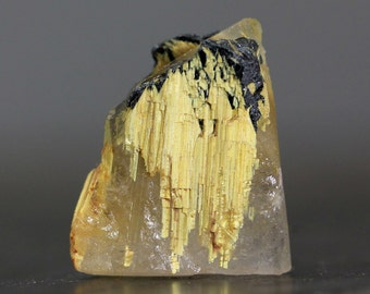 CLEARANCE Unpolished Rough Raw Crystal Golden Star Quartz & Hematite Rutile Included Gemstone Collector Rock Specimen (CA5227)