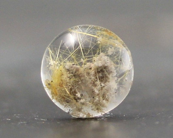 Quartz With Gold Inclusions : Lodolite gold rutile mineral included high clarity quartz