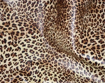 """Leather 12""""x12"""" """"Original"""" SOFT Banana Leopard Print Cowhide (NOT hair on) 2.5-3oz /1-1.2 mm PeggySueAlso™ E2550-01"""