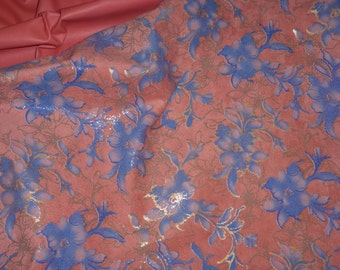 "Leather 8""x10"" Asian Blue Gold Metallic Tipped Flowers on SALMON PLONGE Reversible Cowhide THIN 1.5 oz / 0.6 mm PeggySueAlso™"
