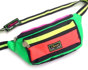 Deadstock 80s Neon Chenson Quad Colorblock Fanny Pack - 24 to 34