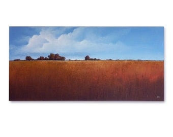 "Original Art, LARGE LANDSCAPE painting 24 X 48 ""Last October"""