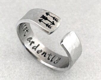 Hammered Jane Austen Ring - Most Ardently - Pride & Prejudice - Hand Stamped Aluminum Ring - Customizable