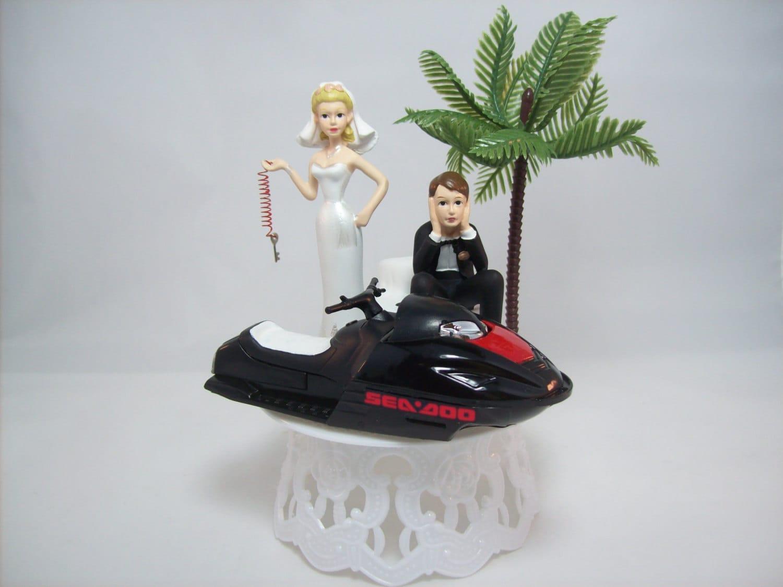 JET Ski WEDDING Cake TOPPER W Die Cast Black Sea Doo Wave
