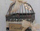 15% OFF SALE Small Birdcage Wedding Card Holder / Rustic Burlap Wedding Card Box