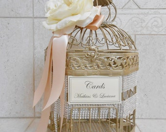 Medium Champagne Gold Wedding Birdcage Card Holder / Wedding Card Box / Bling Wedding Decor / Custom Wedding Card Box / Gold Birdcage