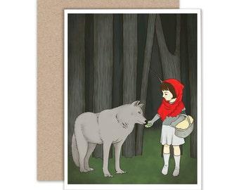 Blank Notecard, Holiday Card, Little Red Riding Hood, Fairy Tale Card, Art Card