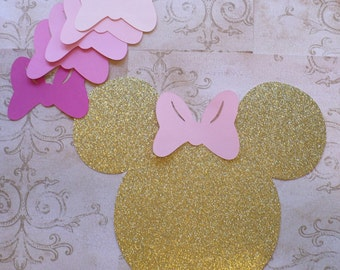 DIY Pin the Bow on Minnie Mouse Game Head Shape Pink Mixture Bows Die Cuts Gold Glitter Birthday Party Wall Door Decorations