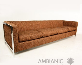 Mid-Century Modern Long Sofa with Chrome Legs after Milo Baughman