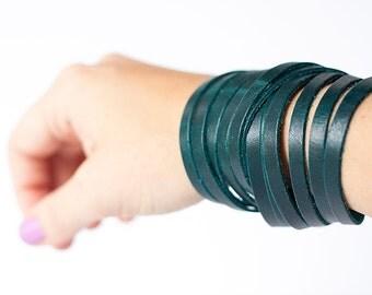 Leather Bracelet / Original Sliced Wrap Cuff / Dark Teal