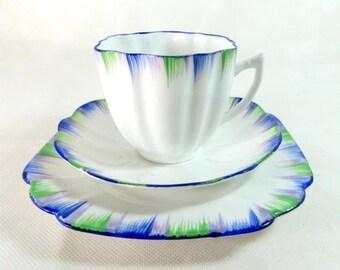 SALE! Art Deco Trio, Melba China Blue Green & Lilac Feathered Bone China Cup, Saucer, Teaplate Trio Set 1948-1951