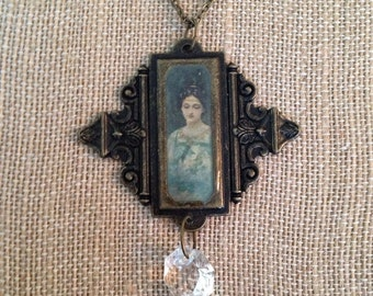 Victorian style cameo necklace, statement necklace, vintage style