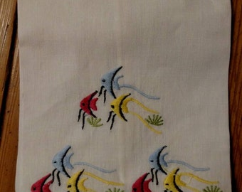 Vintage Hand Embroidered Tropical Fish Napkin