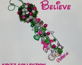 The Kiddazzler - Believe Bead Ball - Pink, Green and White - Mouse, Clock, Bird, Crown, Heart and Believe - Kids Decor, Room Decor, Handmade