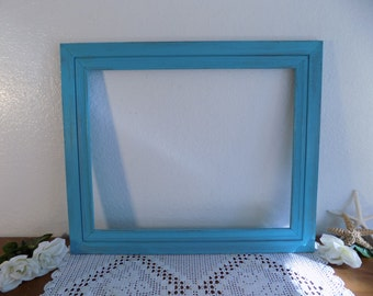 Large Turquoise Blue Picture Frame 16 x 20 Rustic Shabby Chic Distressed Wood Beach Cottage Coastal Seaside Home Decor Wedding Decoration